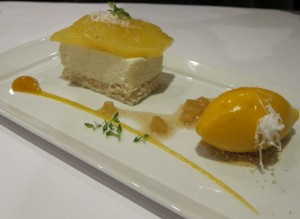 White Chocolate Coconut Mousse  with Poached Pineapple, Mango-Banana Sorbet