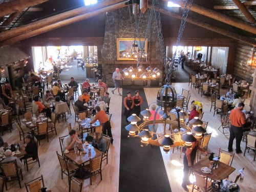 the old faithful inn dinning room at yellowstone national park, wy